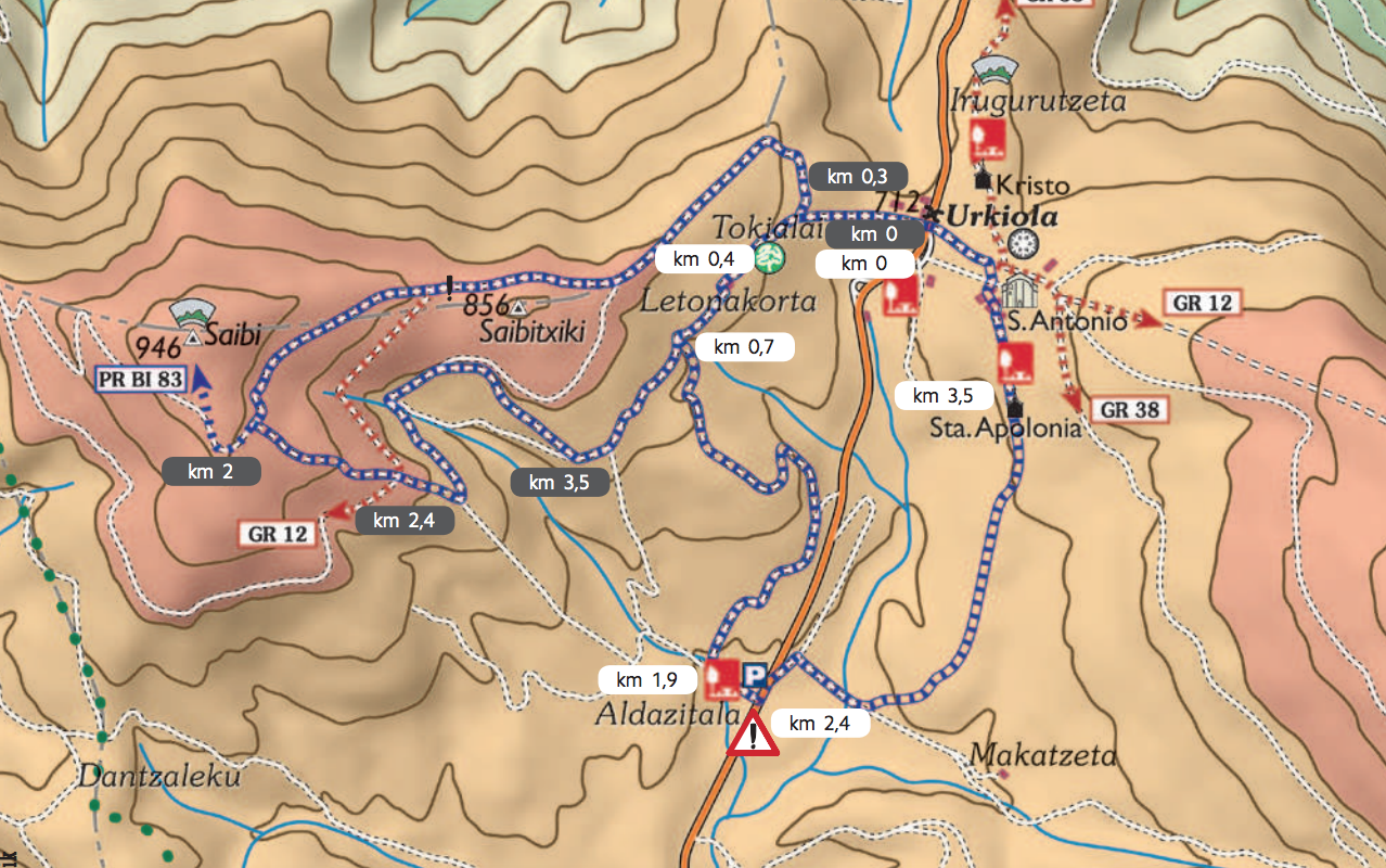 mapa rutas de senderismo urkiola